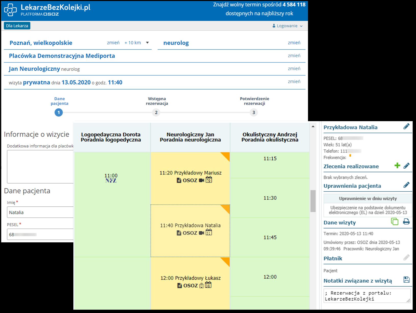Widok kalendarza i przykładowe wizyty zarezerwowane przez pacjentów on-line