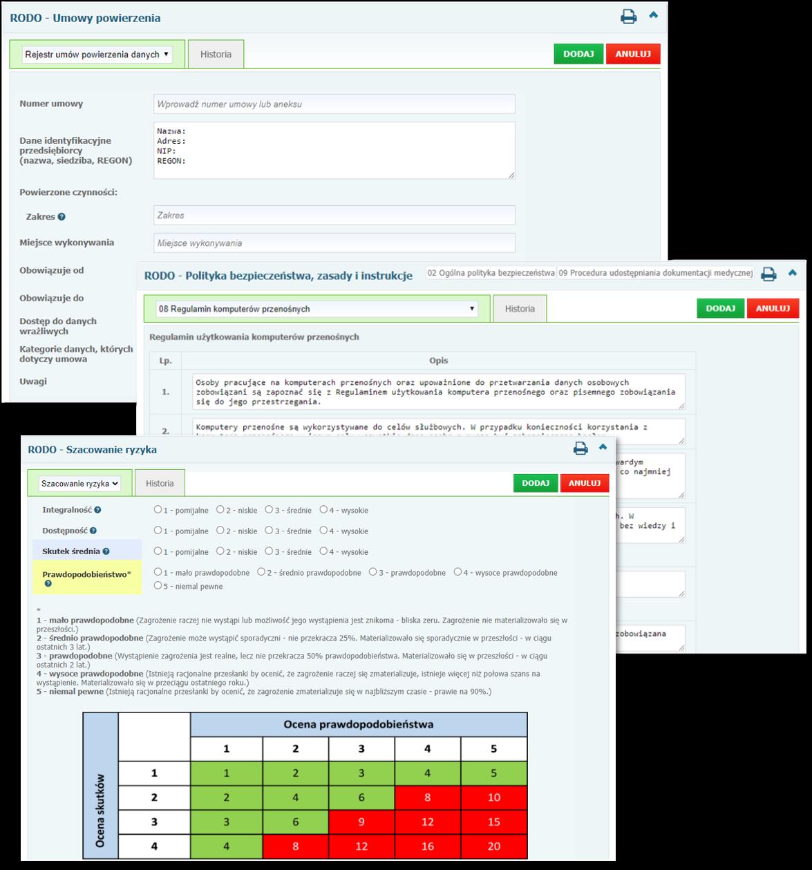 Przykładowe formularze dostępne w module dokumentacji RODO