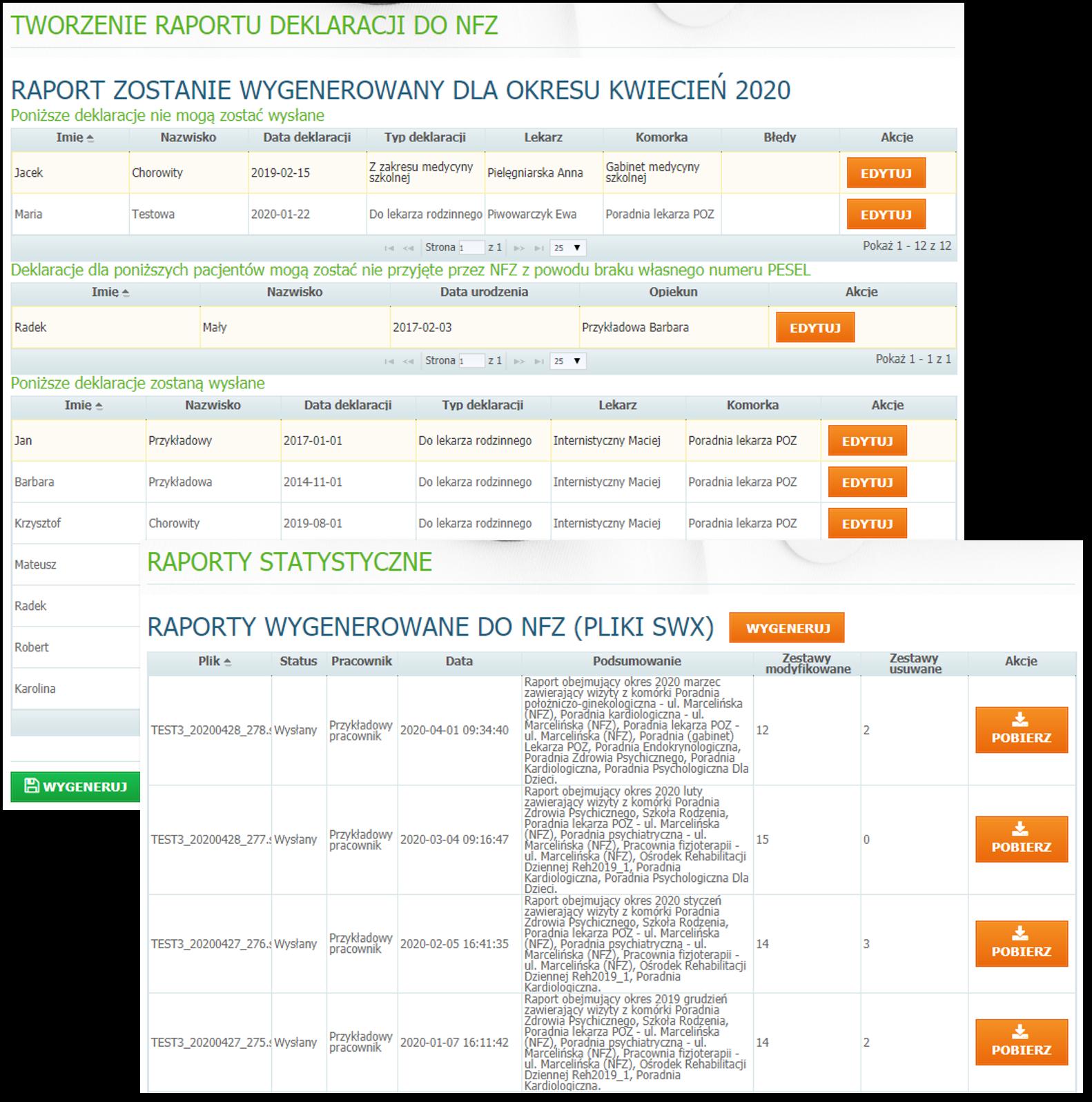 Widok przykładowych raportów dot. rozliczeń z NFZ