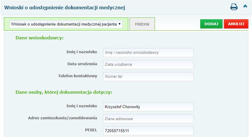 Wniosek oudostępnienie dokumentacji medycznej pacjenta