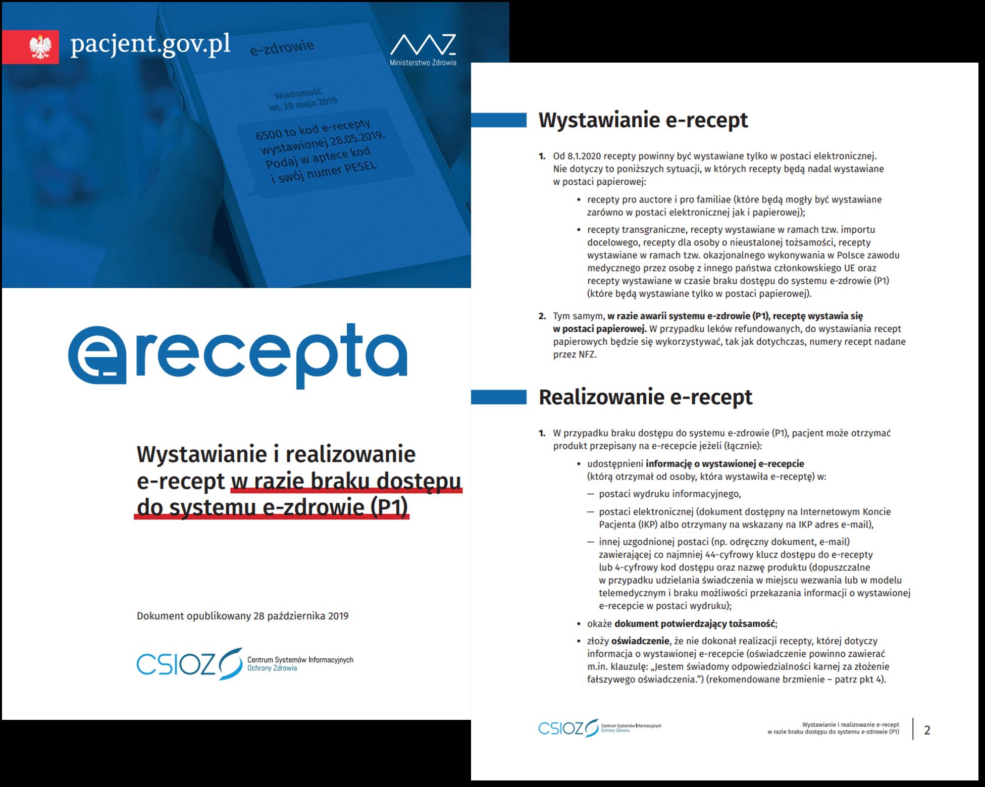 Wystawianie irealizowanie e-recept wrazie braku dostępu dosystemu e-zdrowie (P1)
