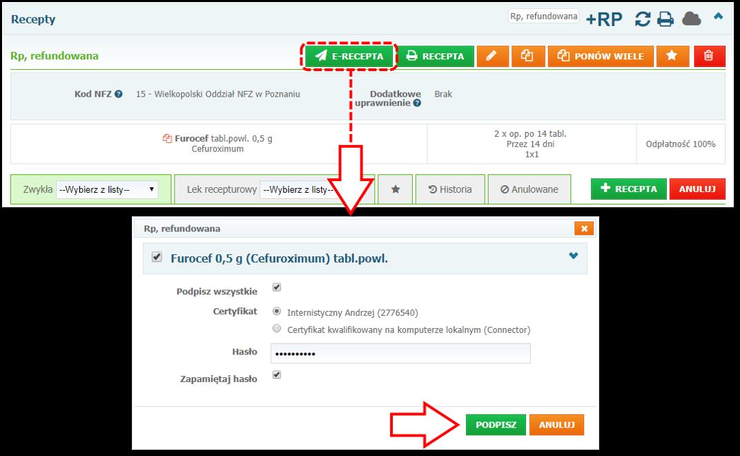 Elektronizacja recepty (podpisywanie dokumentu e-Recepty) wsystemie Mediporta
