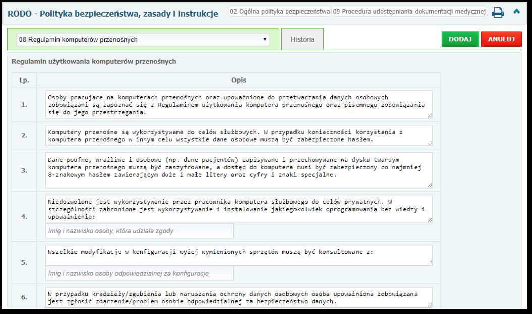 Przykładowy formularz z regulaminem komputerów przenośnych
