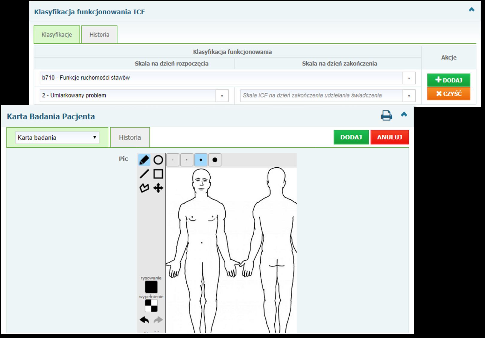 Sekcje: Klasyfikacja funkcjonowania ICF oraz Karta Badania Pacjenta