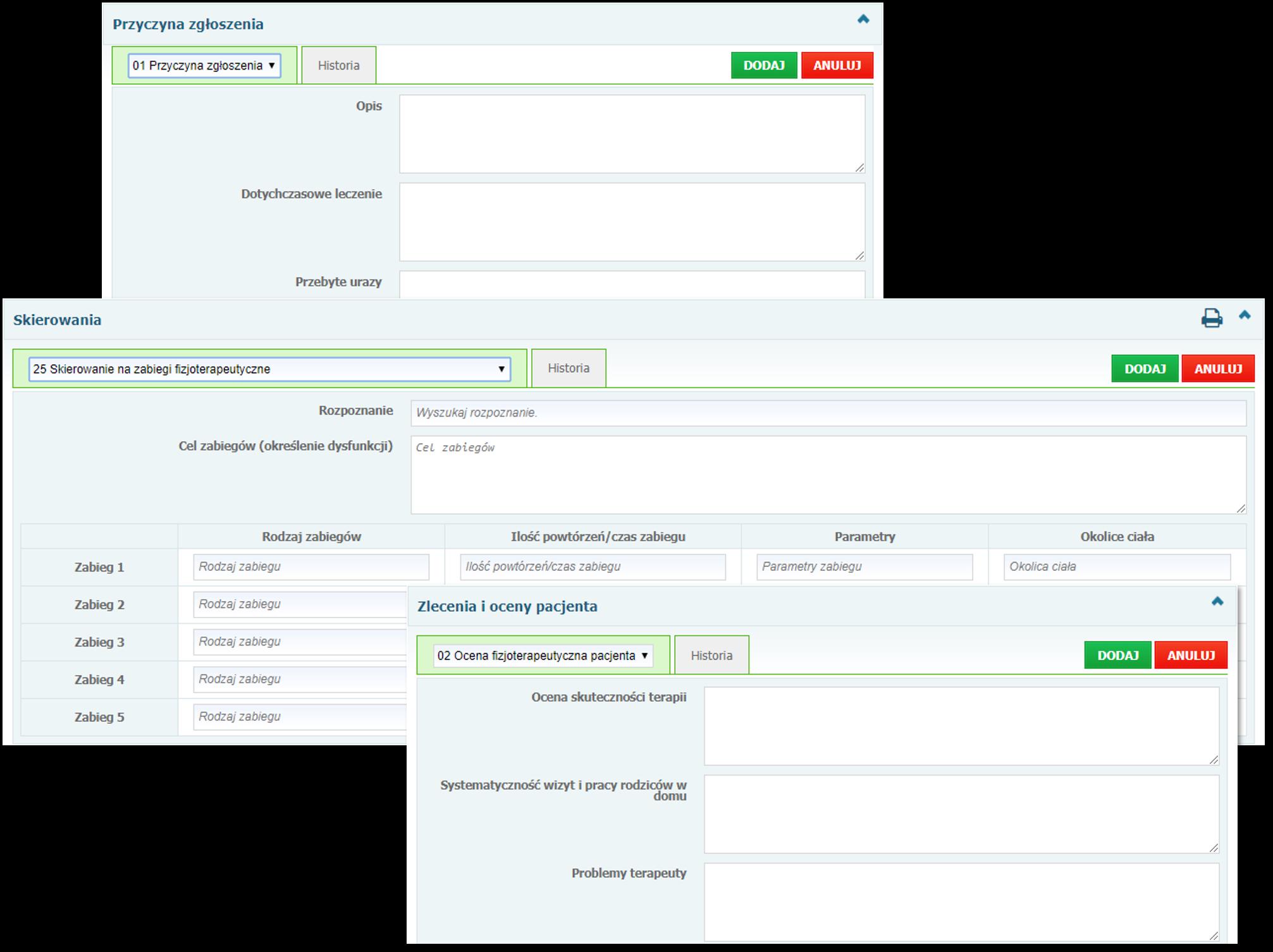Sekcje: Przyczyna zgłoszenia, Skierowania oraz Zalecenia i oceny pacjenta