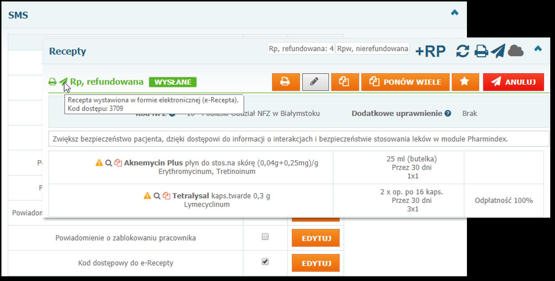 Powiadomienia SMS zkodami e-Recept orazpodgląd kodu dostępu doe-Recepty wwizycie