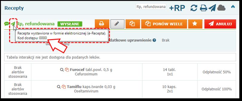 Podgląd przykładowego kodu dostępowego e-Recepty wsystemie Mediporta