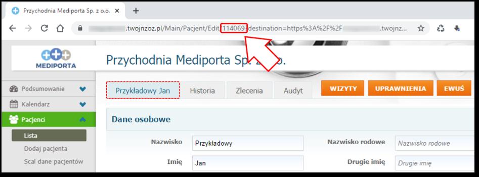 ID (identyfikator) kartoteki pacjenta wsystemie Mediporta