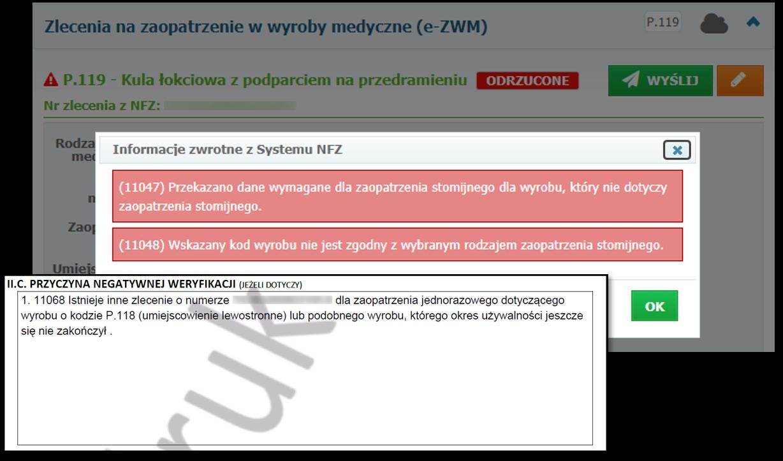 Sprawdzanie przyczyn negatywnej weryfikacji zlecenia przekazanych przez NFZ
