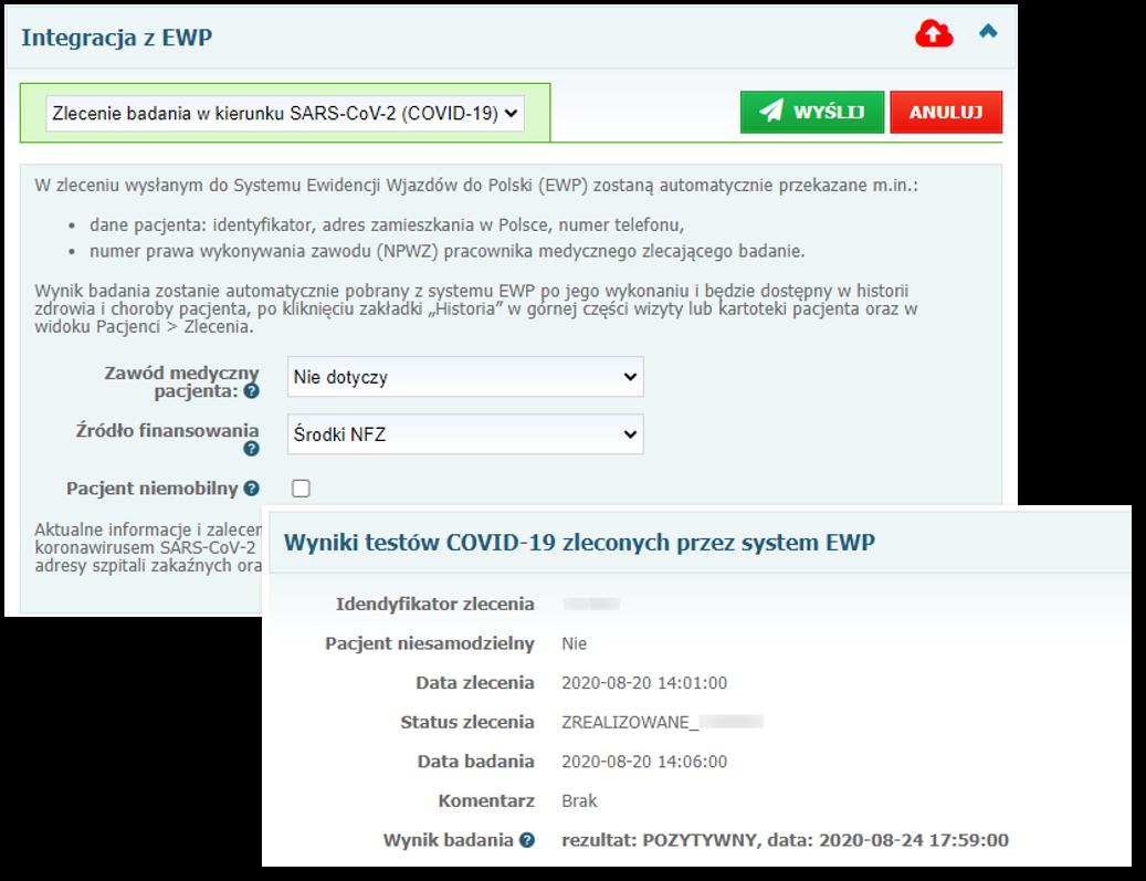 Integracja zsystemem EWP wzakresie zlecania badań naCOVID-19