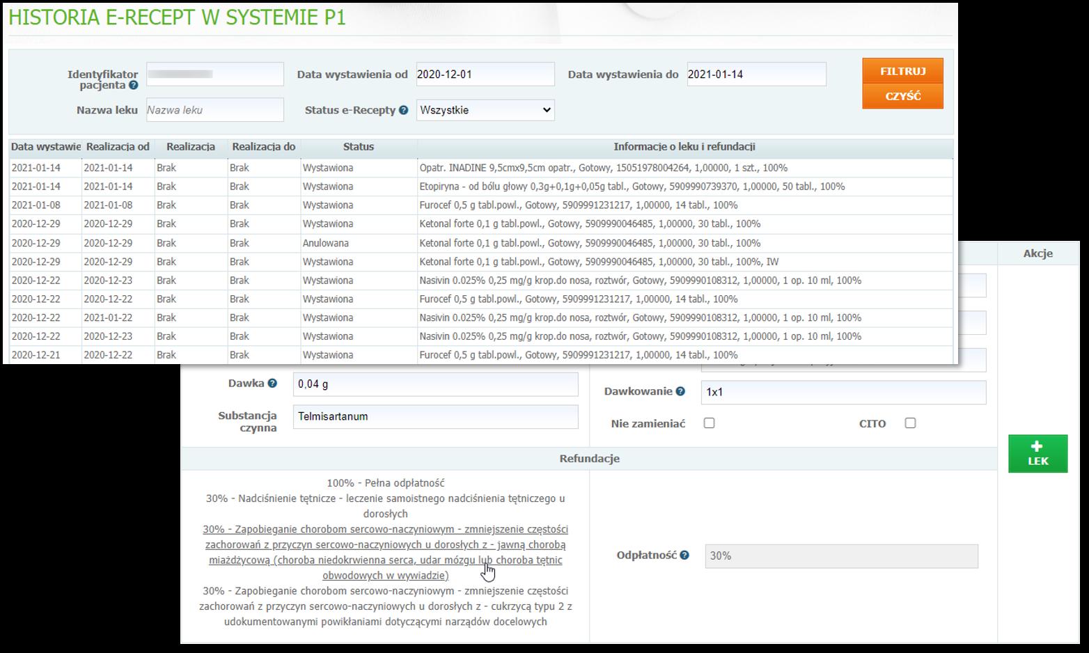 Przeglądarka P1 inarzędzie pomagające określić poziom refundacji leku wsystemie Mediporta